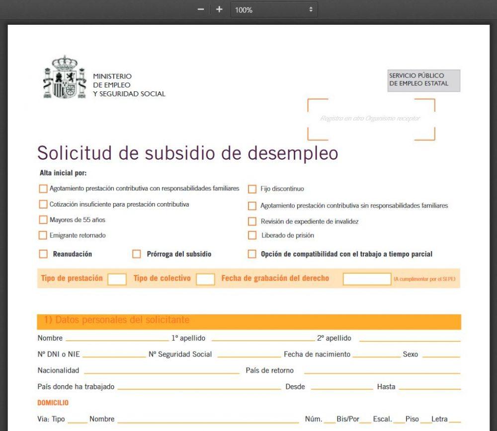formulario solicitud subsidios sepe