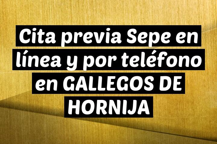 Cita previa Sepe en línea y por teléfono en GALLEGOS DE HORNIJA