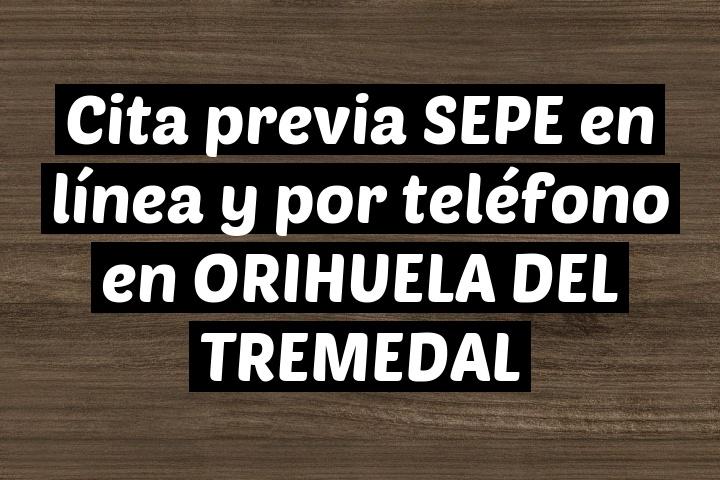 Cita previa SEPE en línea y por teléfono en ORIHUELA DEL TREMEDAL