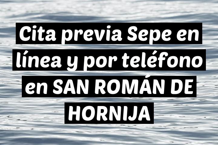 Cita previa Sepe en línea y por teléfono en SAN ROMÁN DE HORNIJA