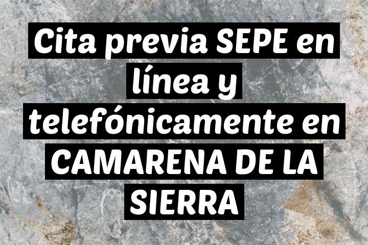Cita previa SEPE en línea y telefónicamente en CAMARENA DE LA SIERRA