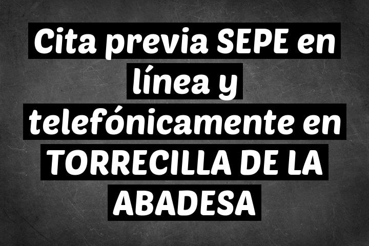 Cita previa SEPE en línea y telefónicamente en TORRECILLA DE LA ABADESA