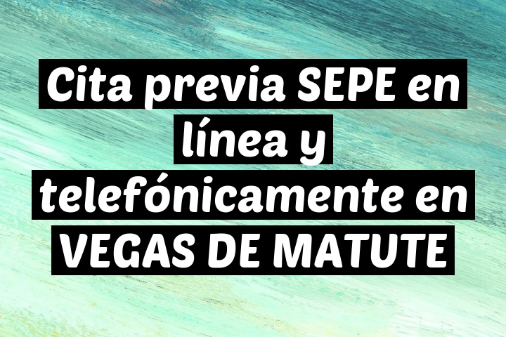 Cita previa SEPE en línea y telefónicamente en VEGAS DE MATUTE
