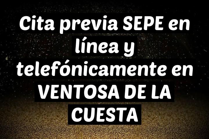 Cita previa SEPE en línea y telefónicamente en VENTOSA DE LA CUESTA