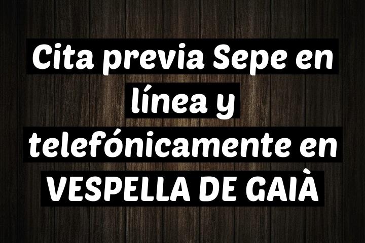 Cita previa Sepe en línea y telefónicamente en VESPELLA DE GAIÀ