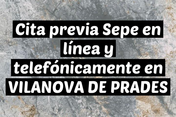 Cita previa Sepe en línea y telefónicamente en VILANOVA DE PRADES