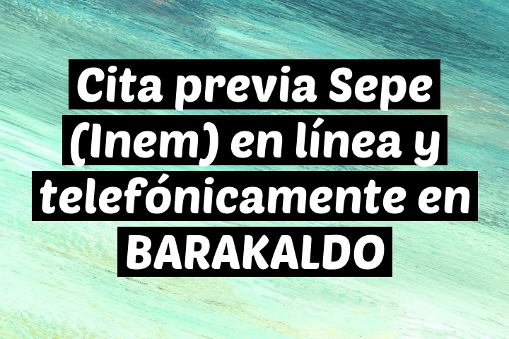 Cita previa Sepe (Inem) en línea y telefónicamente en BARAKALDO