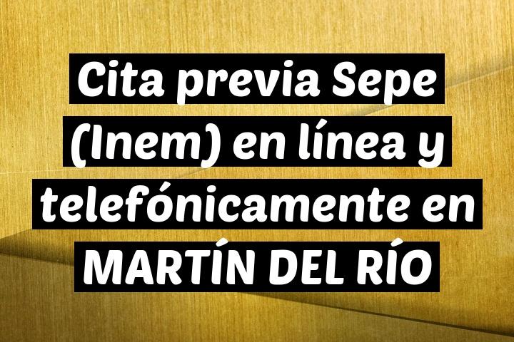 Cita previa Sepe (Inem) en línea y telefónicamente en MARTÍN DEL RÍO