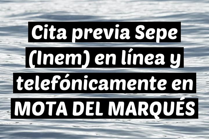 Cita previa Sepe (Inem) en línea y telefónicamente en MOTA DEL MARQUÉS