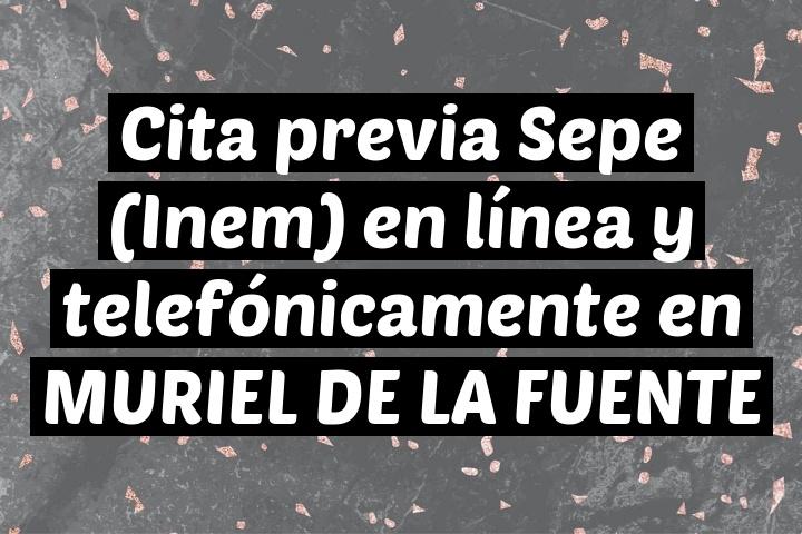 Cita previa Sepe (Inem) en línea y telefónicamente en MURIEL DE LA FUENTE