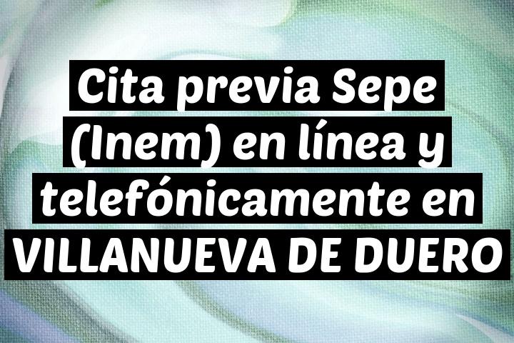 Cita previa Sepe (Inem) en línea y telefónicamente en VILLANUEVA DE DUERO