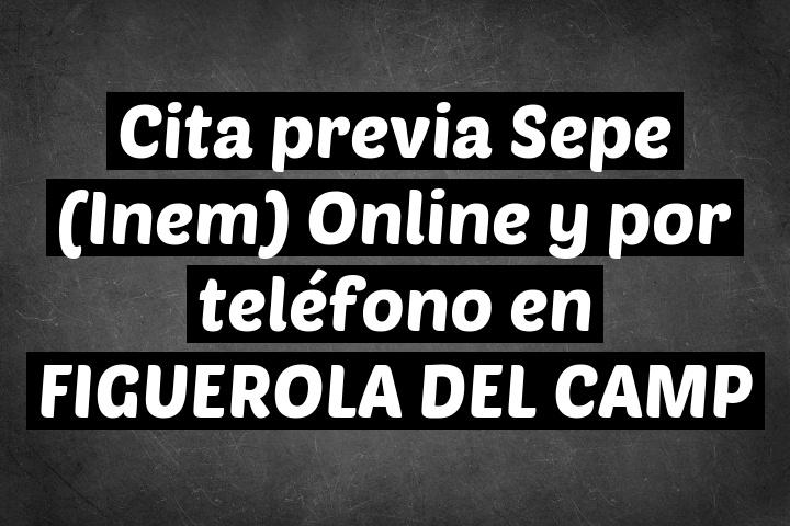 Cita previa Sepe (Inem) Online y por teléfono en FIGUEROLA DEL CAMP