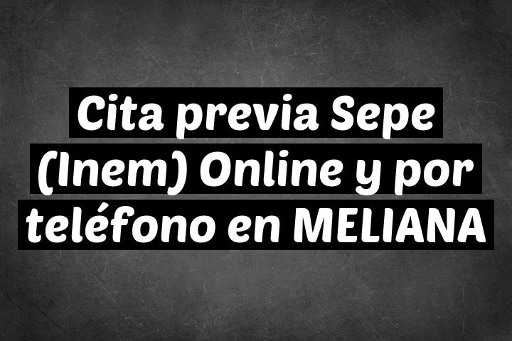 Cita previa Sepe (Inem) Online y por teléfono en MELIANA