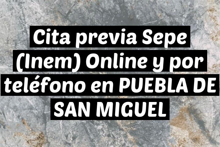 Cita previa Sepe (Inem) Online y por teléfono en PUEBLA DE SAN MIGUEL