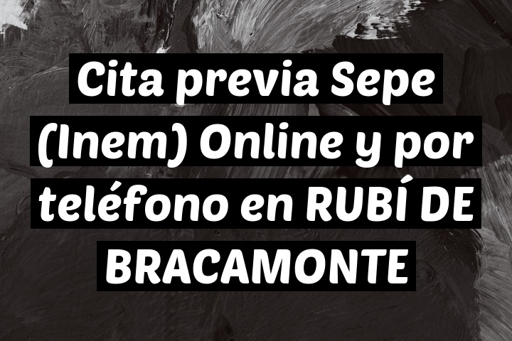 Cita previa Sepe (Inem) Online y por teléfono en RUBÍ DE BRACAMONTE