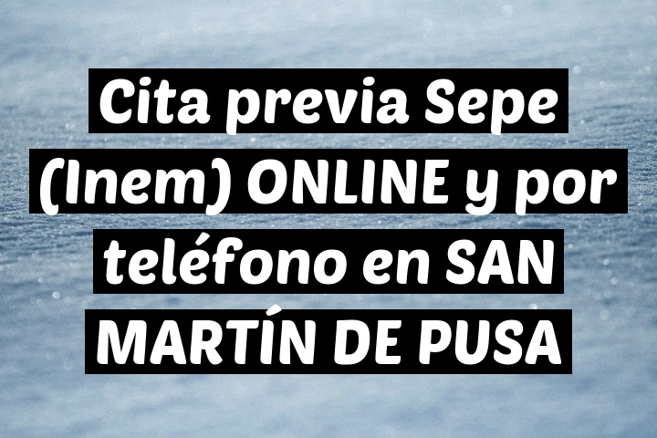 Cita previa Sepe (Inem) ONLINE y por teléfono en SAN MARTÍN DE PUSA