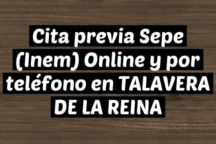 Cita previa Sepe (Inem) Online y por teléfono en TALAVERA DE LA REINA