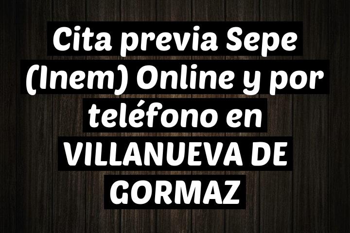 Cita previa Sepe (Inem) Online y por teléfono en VILLANUEVA DE GORMAZ