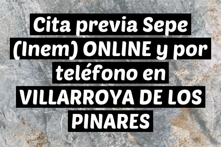 Cita previa Sepe (Inem) ONLINE y por teléfono en VILLARROYA DE LOS PINARES