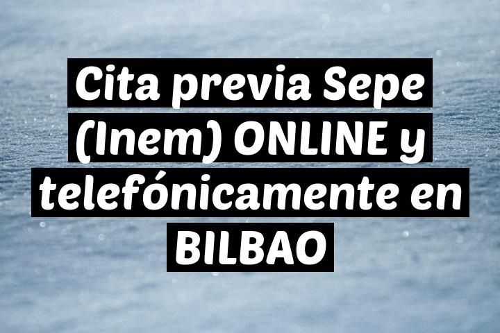 Cita previa Sepe (Inem) ONLINE y telefónicamente en BILBAO