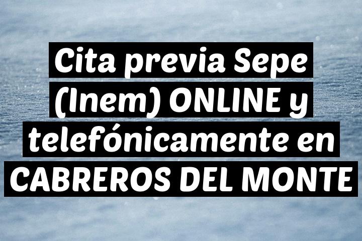Cita previa Sepe (Inem) ONLINE y telefónicamente en CABREROS DEL MONTE