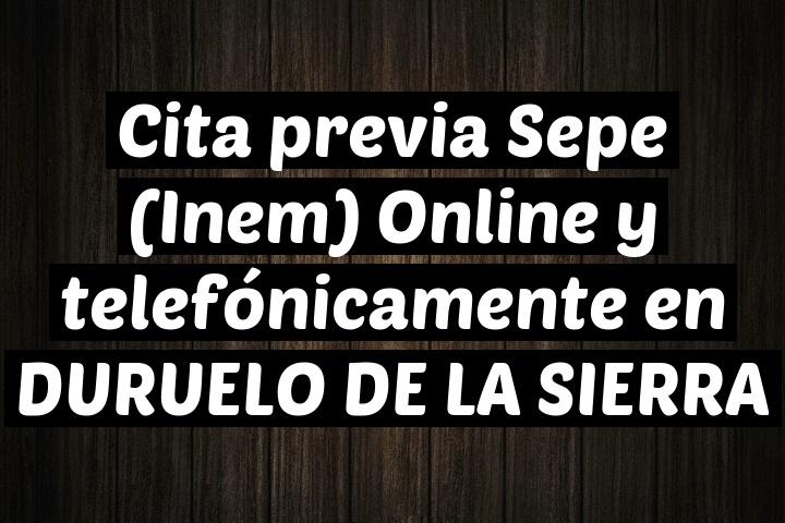 Cita previa Sepe (Inem) Online y telefónicamente en DURUELO DE LA SIERRA