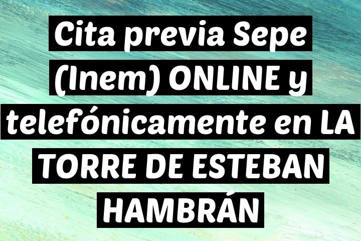 Cita previa Sepe (Inem) ONLINE y telefónicamente en LA TORRE DE ESTEBAN HAMBRÁN