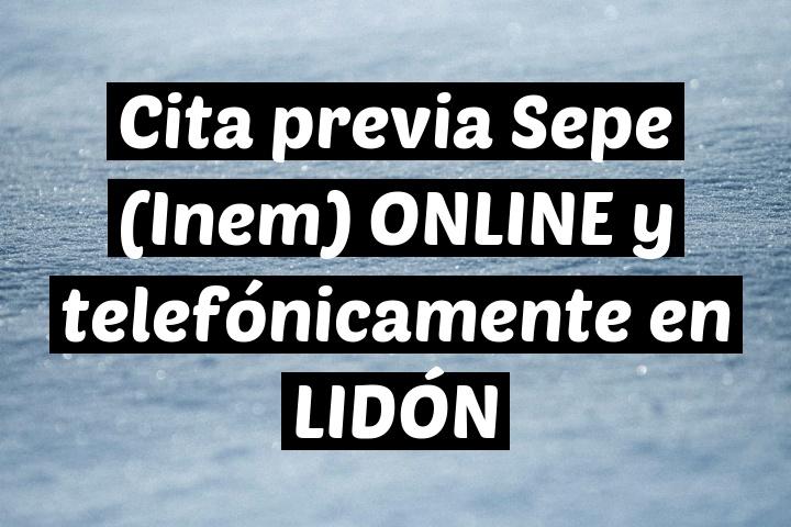 Cita previa Sepe (Inem) ONLINE y telefónicamente en LIDÓN