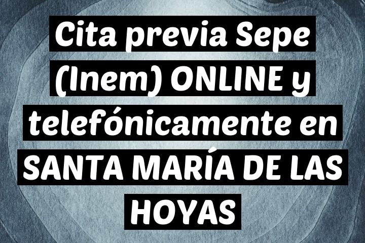 Cita previa Sepe (Inem) ONLINE y telefónicamente en SANTA MARÍA DE LAS HOYAS