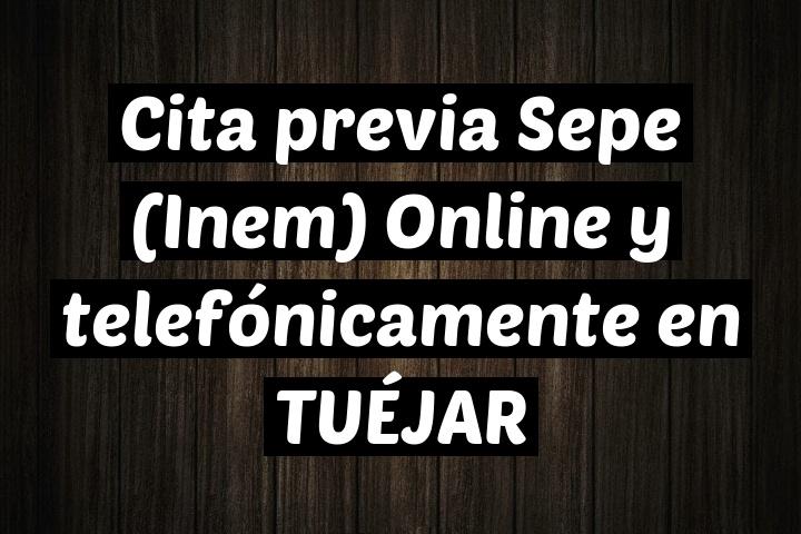 Cita previa Sepe (Inem) Online y telefónicamente en TUÉJAR