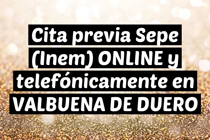 Cita previa Sepe (Inem) ONLINE y telefónicamente en VALBUENA DE DUERO
