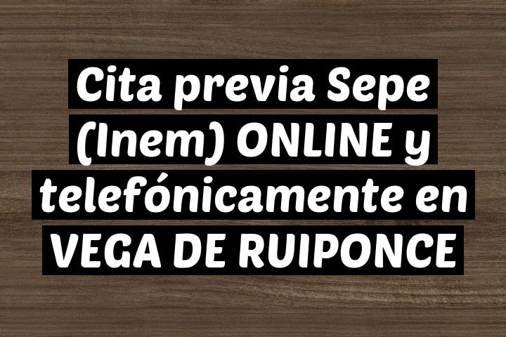 Cita previa Sepe (Inem) ONLINE y telefónicamente en VEGA DE RUIPONCE