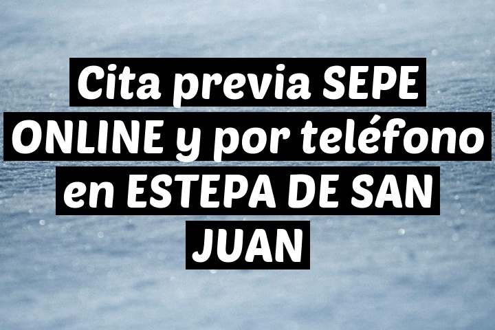 Cita previa SEPE ONLINE y por teléfono en ESTEPA DE SAN JUAN