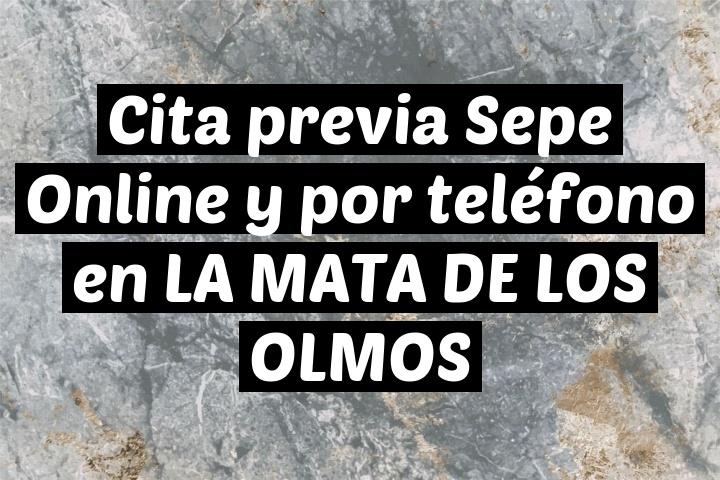Cita previa Sepe Online y por teléfono en LA MATA DE LOS OLMOS