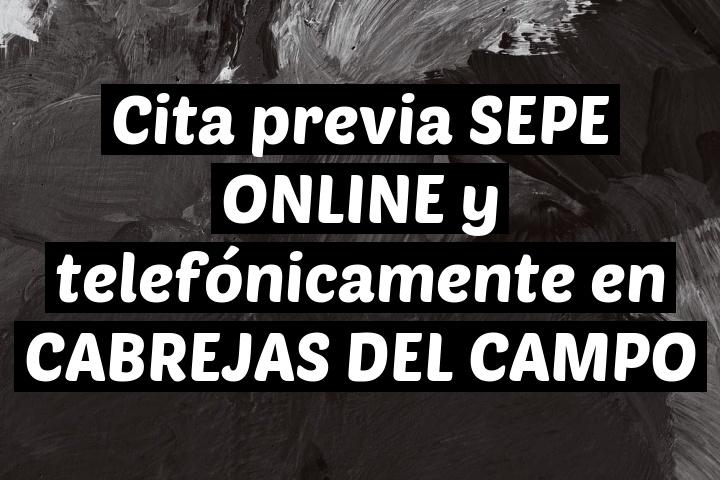 Cita previa SEPE ONLINE y telefónicamente en CABREJAS DEL CAMPO