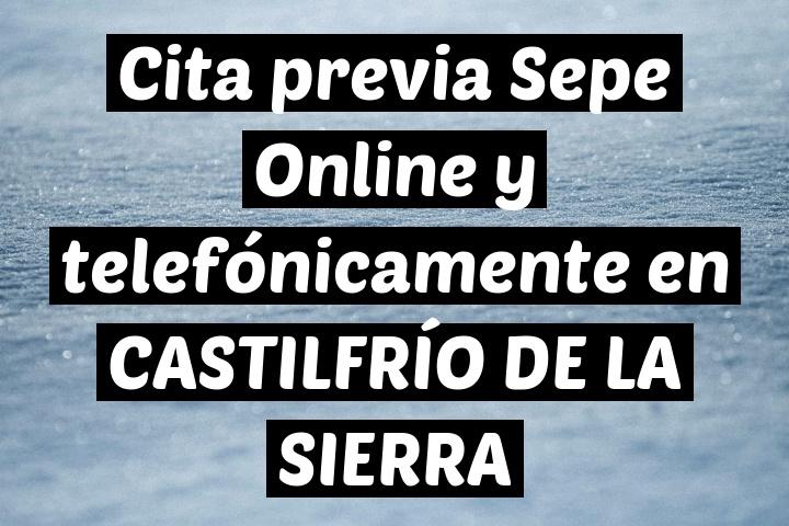 Cita previa Sepe Online y telefónicamente en CASTILFRÍO DE LA SIERRA