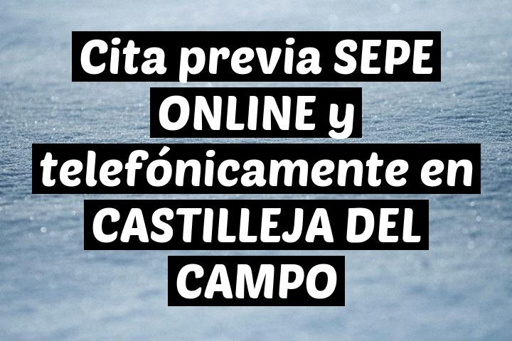 Cita previa SEPE ONLINE y telefónicamente en CASTILLEJA DEL CAMPO