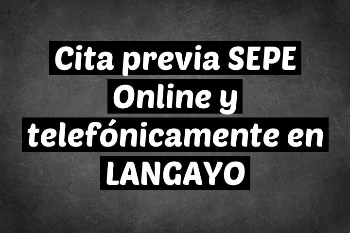 Cita previa SEPE Online y telefónicamente en LANGAYO
