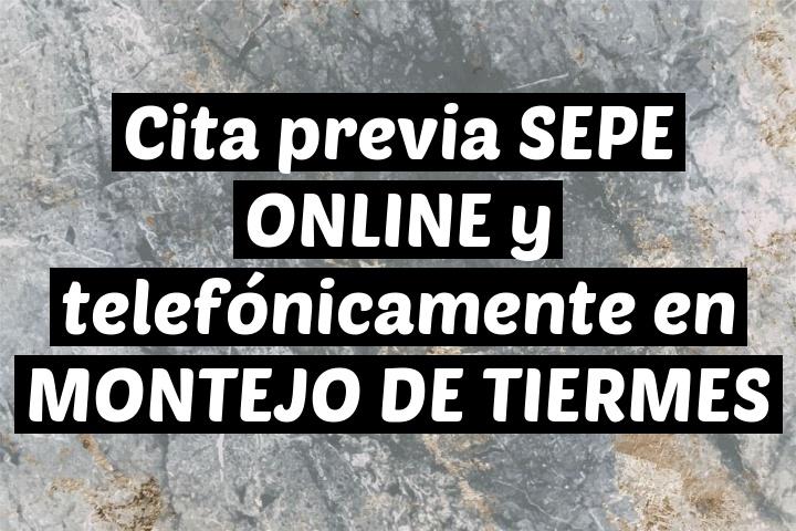 Cita previa SEPE ONLINE y telefónicamente en MONTEJO DE TIERMES