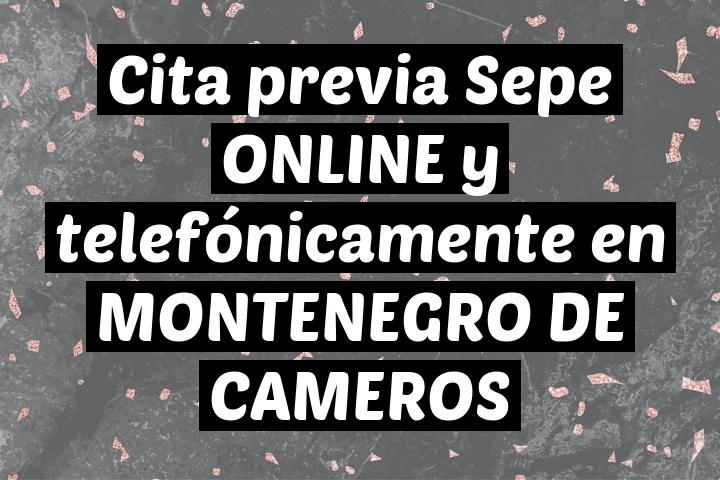 Cita previa Sepe ONLINE y telefónicamente en MONTENEGRO DE CAMEROS