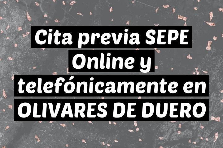 Cita previa SEPE Online y telefónicamente en OLIVARES DE DUERO