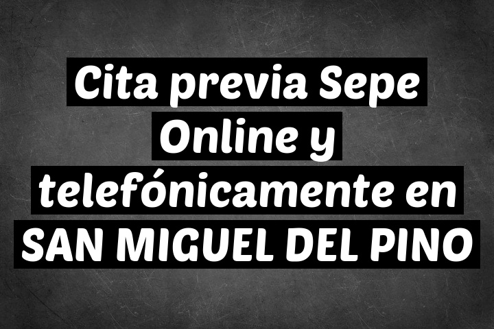 Cita previa Sepe Online y telefónicamente en SAN MIGUEL DEL PINO