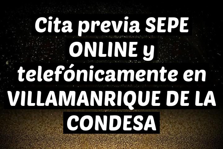 Cita previa SEPE ONLINE y telefónicamente en VILLAMANRIQUE DE LA CONDESA