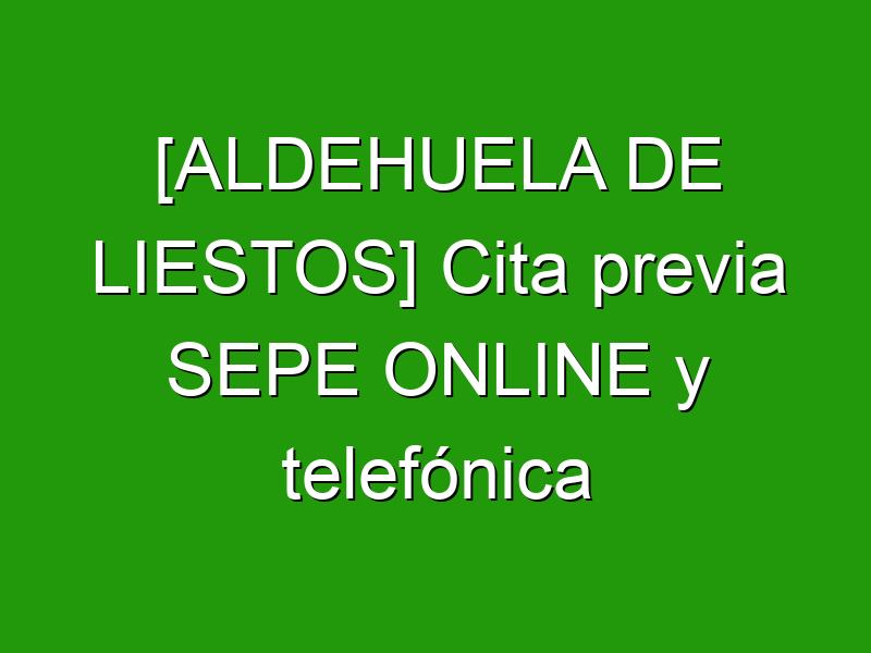 [ALDEHUELA DE LIESTOS] Cita previa SEPE ONLINE y telefónica