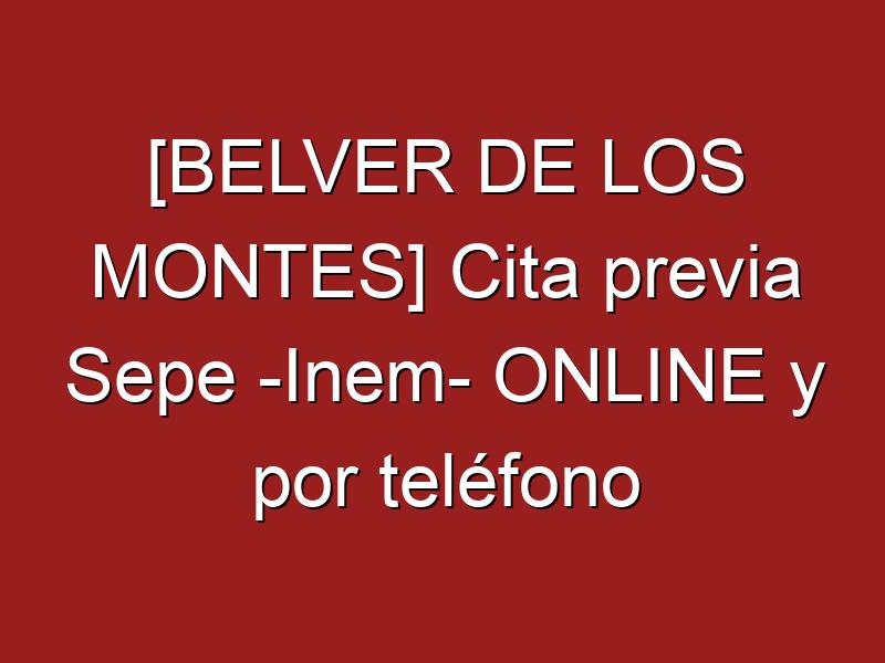 [BELVER DE LOS MONTES] Cita previa Sepe -Inem- ONLINE y por teléfono