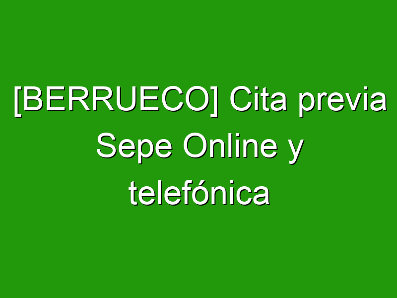 [BERRUECO] Cita previa Sepe Online y telefónica