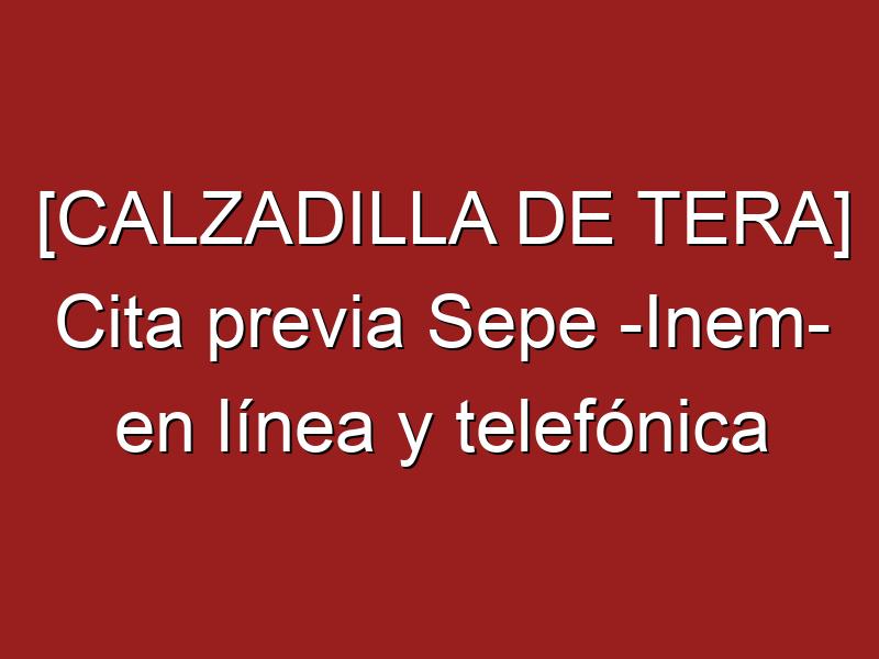 [CALZADILLA DE TERA] Cita previa Sepe -Inem- en línea y telefónica