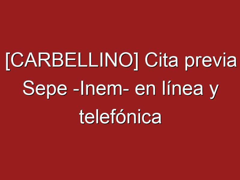 [CARBELLINO] Cita previa Sepe -Inem- en línea y telefónica