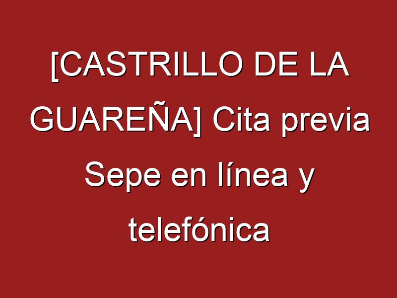 [CASTRILLO DE LA GUAREÑA] Cita previa Sepe en línea y telefónica