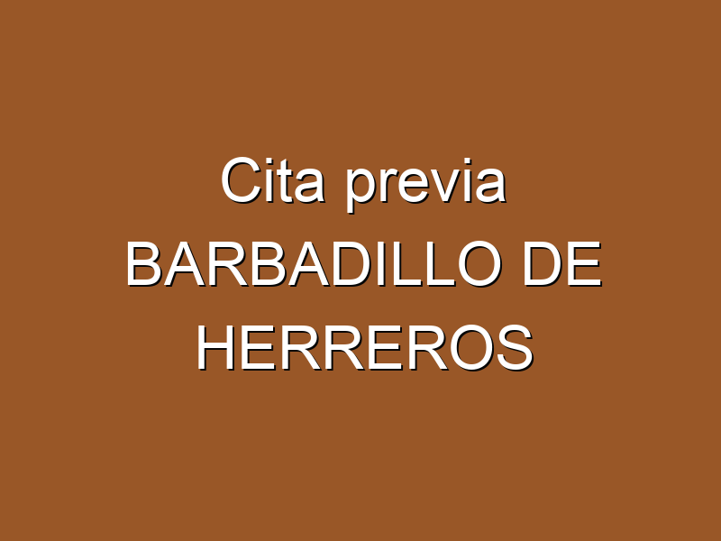 Cita previa BARBADILLO DE HERREROS